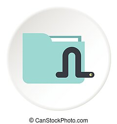 Worm in e-mail icon, flat style