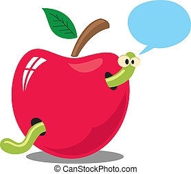 worm on apple with bubble speech