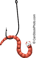 Worm on Hook - Vector illustration of Scared worm on hook.