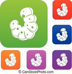 Worm set color collection - Worm set icon color in flat ...