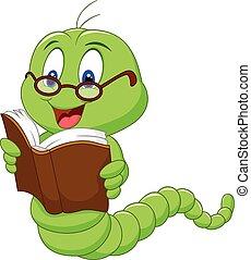 worm, spotprent, boek, lezende