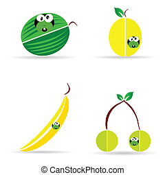 worm with fruit color vector