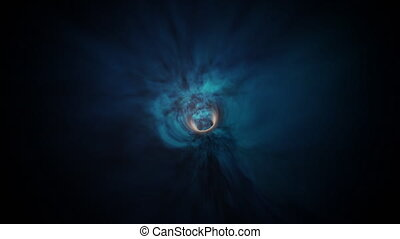 Wormhole through time and space, warp through science fiction. Abstract jump in space in hyperspace among colorful stars. Flying through blue purple data tunnel.3d animation in 4K