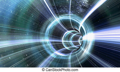 An image of a wormhole. The futuristic tunnel has a bright light at the end.