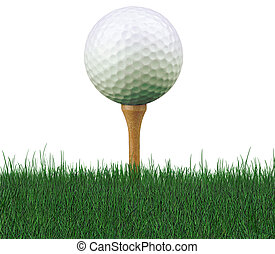 golf ball on tee - worm\'s eye view of golf ball on tee