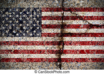 Worn American Flag on Concrete Surface - A worn and fading...