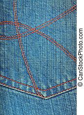 Worn blue denim jeans texture, background