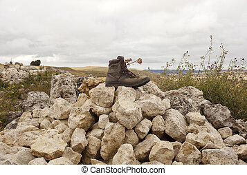 Worn Boot on the cairn, way of St. James