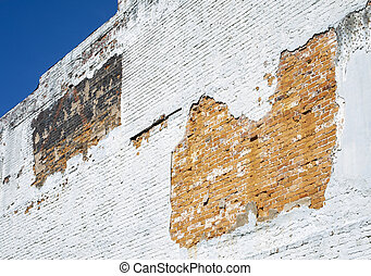 Worn Brick Wall on Old Building