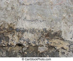 worn dirty gray white wall with some damage