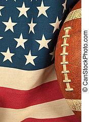 football on an American flag
