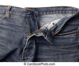 Worn jeans zip half open
