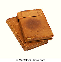 Worn Leather Books - Two worn 19th century leather bound...