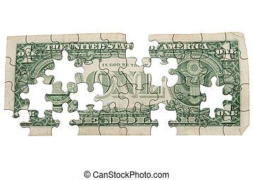 Worn One dollar bill backside