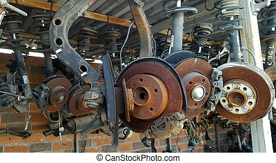 Worn out rusty brake discs and other parts