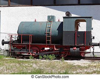 Worn out steam locomotive - A dumped worn out antique steam...