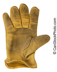 worn out, yellow deer leather, right hand glove, isolated on white