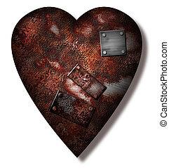 Worn repaired Heart - Worn repaired metal Heart