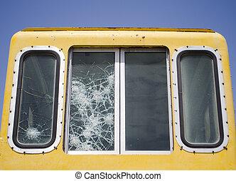 worn retro train windows