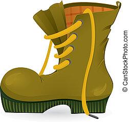 Worn travel shoe close-up vector illustration on white...