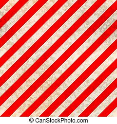 Worn warning sign, white and red stripes with texture, seamless pattern
