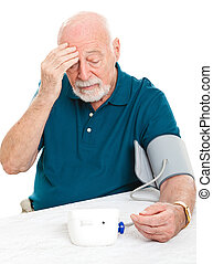 Worried About High Blood Pressure - Worried senior man ...