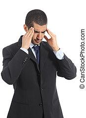 Worried arab businessman with head ache