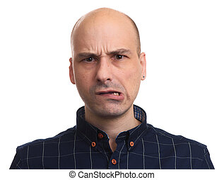 Worried bald man looking at camera. Isolated