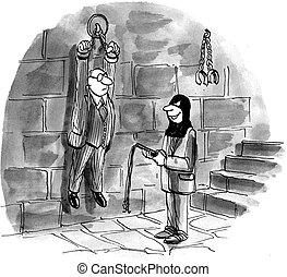 Worried boss has been put in dungeon - Smiling employee has...