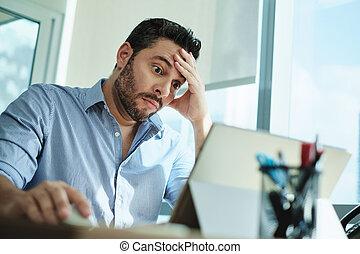 Worried Businessman Got Virus and Data Loss on Laptop Computer