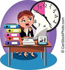 Worried Businesswoman Deadline Office