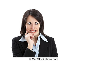 worried businesswoman - worried business woman isolated on ...