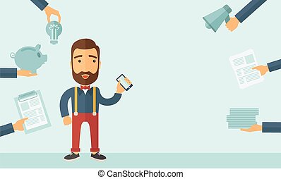 Worried busy man - Man with smartphone in hand has a lot of ...