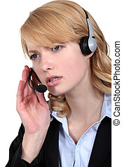 Worried call-center worker
