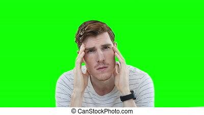 Worried Caucasian man on green background - Worried ...