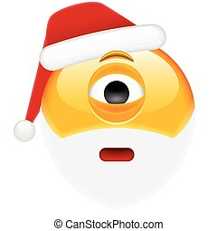 Worried Cyclop Santa Smile Emoticon for Christmas and New ...