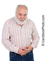 Worried elderly man with stomach pain isolated on a white...