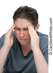 worried headache man