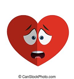 worried heart cartoon icon