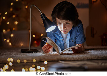 Worried kid involved in amazing fairy tale