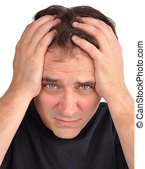 Worried Man with Stress Closeup - A middle aged man has...