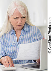 Worried Mature Woman With Laptop Calculating Household...