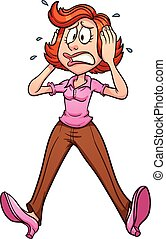 Worried mom - Cartoon shocked mom. Vector clip art...