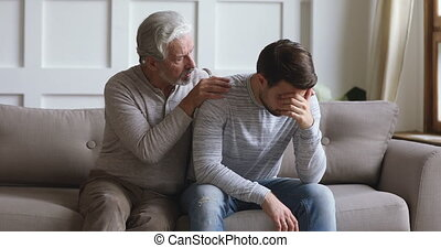 Worried old father say sorry apologizing stubborn young ...