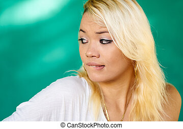 Worried People Portrait Latina Girl Biting Lips