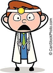 Worried - Professional Cartoon Doctor Vector Illustration