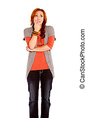 Worried Red Haired Woman - A red headed woman stressed and...