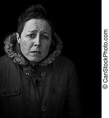 worried sad woman black and white
