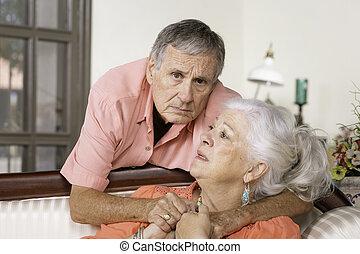 Worried Senior Man and Woman