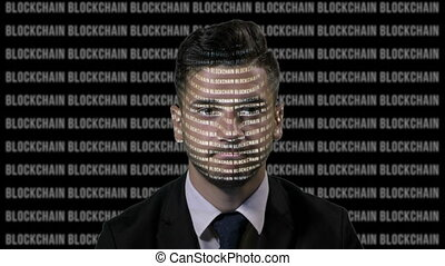 Worried team leader using augmented reality to analyze bitcoin data on a running blockchain black screen background